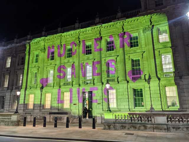 Nuclear Saves Lives projection at the Cabinet Office