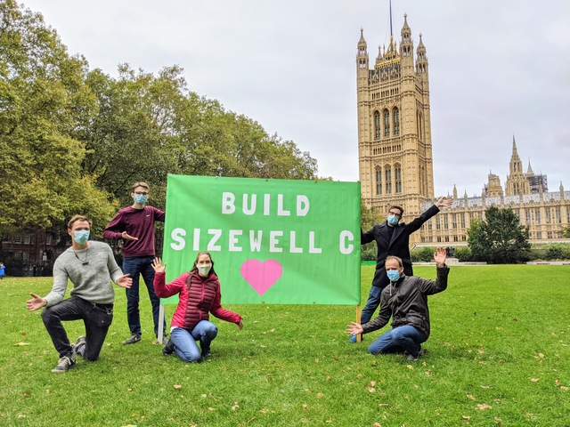 Build Sizewell C banner in Parliament Square